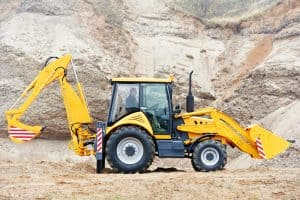 excavator with a backhoe attachment