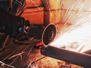 grinder with flying sparks